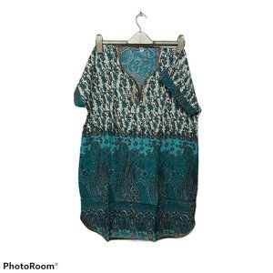 US 16 summer peasant tunic size L paisley hippie